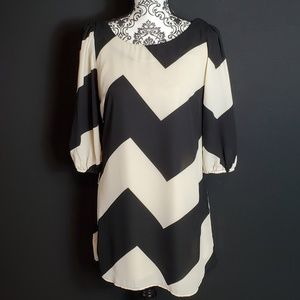 GB Chevron Dress with bow in back. Size S